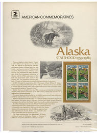 2066 20c Alaska Statehood USPS Cat. 205  Commemorative Panel cp205
