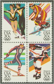 2067-70 20c Winter Olympics 4 Singles F-VF Mint NH 2067sing