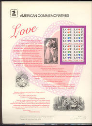 2072 20c Love USPS Cat. 208 Commemorative Panel cp208