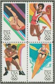2082-5 20c Summer Olympics Attached block of 4 F-VF Mint NH 2082nh