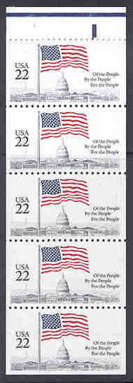 2116a 22c Flag over Capitol, Pane of 5 F-VF Mint NH 2116abk