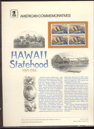 2080 20c Hawaii Statehood USPS Cat. 213  Commemorative Panel cp213