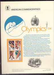 2082-85 20c Summer Olympics USPS Cat. 215 Commemorative Panel cp215