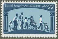 2153 22c Social Security F-VF Mint NH Plate Block of 4 2153pb