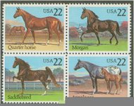 2155-8 22c Horses Attached Block of 4 F-VF Mint NH 2155nh
