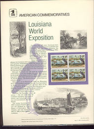 2086 20c Louisiana Expo USPS Cat. 216 Commemorative Panel cp216