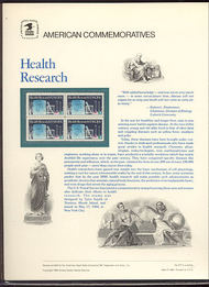 2087 20c Health Research USPS Cat. 217 Commemorative Panel cp217