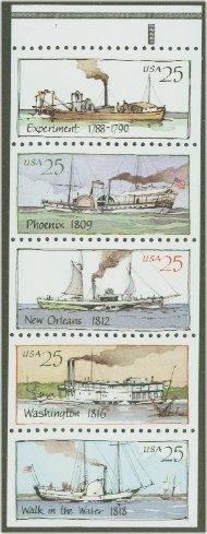 2405-9 25c Steamboats 5 Singles F-VF Mint NH 2405sing