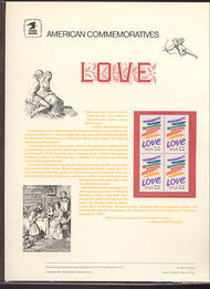 2143 22c Love USPS Cat. 241 Commemorative Panel cp241