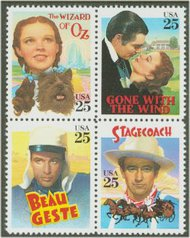 2445-8 25c Classic Films Attached block of 4 Used 2445attu