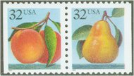 2487-8 32c Peach & Pear,Attached Pair Used 2487-8attu
