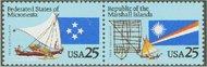 2506-7 25c Trust Territories Attached Pair Used 2506attu