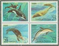 2508-11 25c Sea Creatures Attached block of 4 Used 2508attu