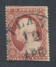 25A 3c Washington, Type II, Perf 15, AVG Used 25auavg