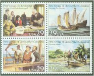 2620-3 29c First Voyage of Columbus Attached block of 4 Used 2620-3attu