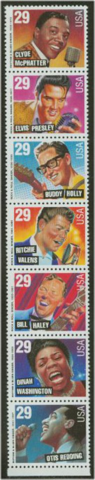 2724-30 29c Rock n Roll ,F-VF Mint NH Strip of 7 Attached 2724-30nh