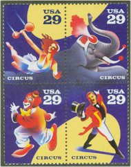 2750-3 29c Circus  Set of 4 Used Singles 2750-3usg