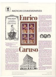 2250 22c Enrico Caruso USPS Cat. 278 Commemorative Panel cp278