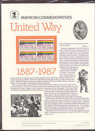 2275 22c United Way USPS Cat. 281 Commemorative Panel cp281