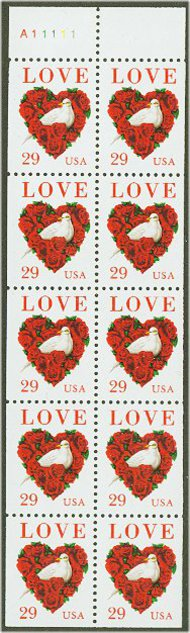 2814a 29c Love & Dove Booklet Pane F-VF Mint NH 2814a