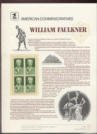 2350 22c William Faulkner USPS Cat. 289 Commemorative Panel cp289