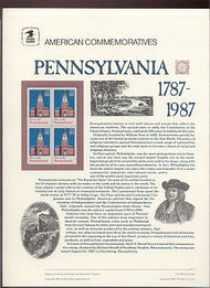 2337 22c Pennsylvania USPS Cat. 291 Commemorative Panel cp291