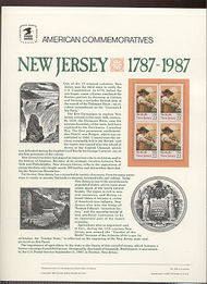 2338 22c New Jersey USPS Cat. 293 Commemorative Panel cp293