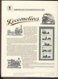 2366a 22c Locomotives Booklet USPS Cat. 296 Commemorative Pane cp296