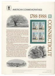 2340 22c Connecticut USPS Cat. 300 Commemorative Panel cp300