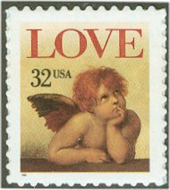 3030a 32c Love, Booklet Pane of 20 F-VF Mint NH 3030a