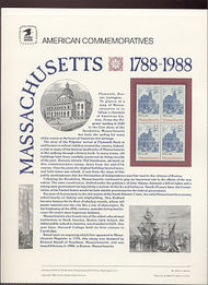 2341 22c Massachusetts USPS Cat. 305 Commemorative Panel cp305