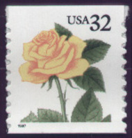 3054 32c Yellow Rose Coil F-VF Mint NH 3054nh