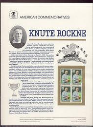 2376 25c Knute Rockne USPS Cat. 307 Commemorative Panel cp307