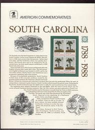 2343 25c South Carolina USPS Cat. 309 Commemorative Panel cp309