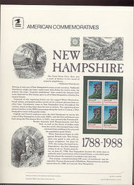 2344 25c New Hampshire USPS Cat. 311 Commemorative Panel cp311