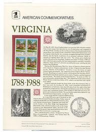 2345 25c Virginia USPS Cat. 312 Commemorative Panel cp312