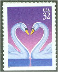 3123 32c Love Swans F-VF Mint NH 3123nh