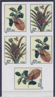 3128b 32c Botanical, Booklet Pane of 5 F-VF Mint NH 3128b