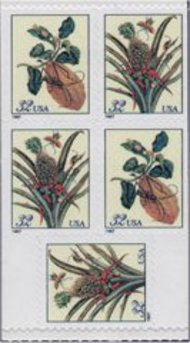 3129b 32c Botanical, Booklet Pane of 5 F-VF Mint NH 3129b