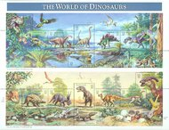 3136 32c Dinosaurs Sheet of 15 F-VF Mint NH 3136shused