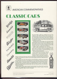2385a 25c Classic Cars USPS Cat. 316 Commemorative Panel cp316