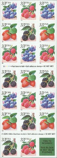 3297b 33c Fruit Berries F-VF Mint NH Booklet of 20 3297b