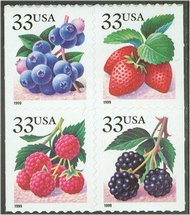 3298-3301 33c Fruit Berries from Vend Booklet F-VF Mint NH 3298-01nh
