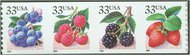 3302-05 33c Fruit Berries F-VF Mint NH Plate Number Strip of 5 3305pnc5