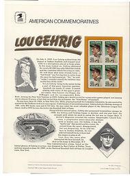 2417 25c Lou Gehrig USPS Cat. 332 Commemorative Panel cp332