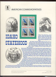 2439 25c Idaho Statehood USPS Cat. 343 Commemorative Panel cp343