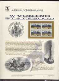 2444 25c Wyoming Statehood USPS Cat. 347 Commemorative Panel cp347