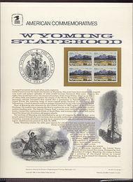 2444 25c Wyoming Statehood USPS Cat. 347 Commemorative Panel cp347