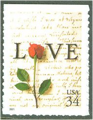3497 34c Rose & Love Letter F-VF Mint NH 3497nh