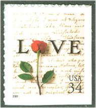 3498 34c Rose & Love Letter F-VF Mint NH 3498nh